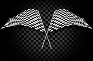 Racing flags on gray checkered blackground